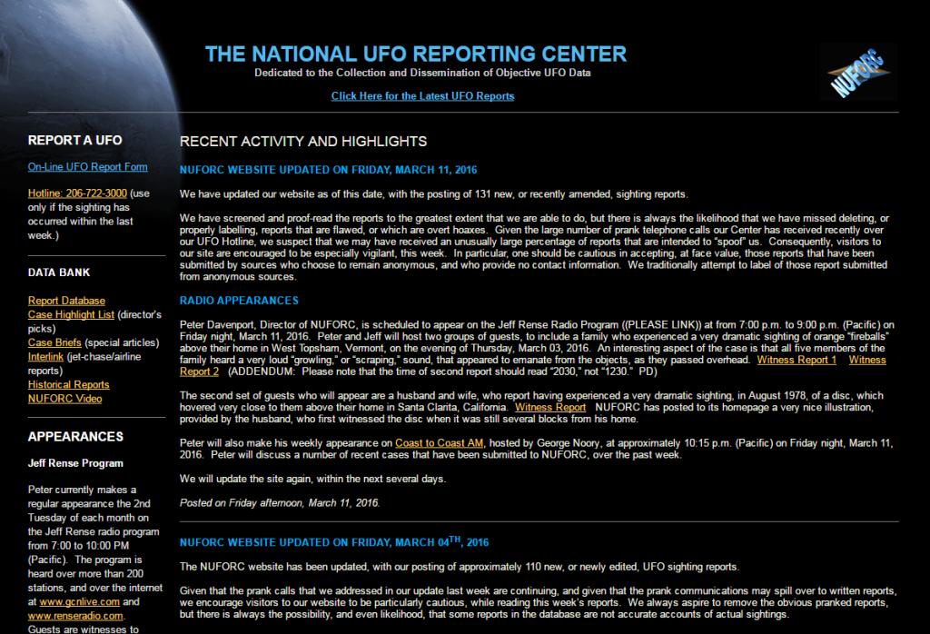 NUFORC Website Screenshot