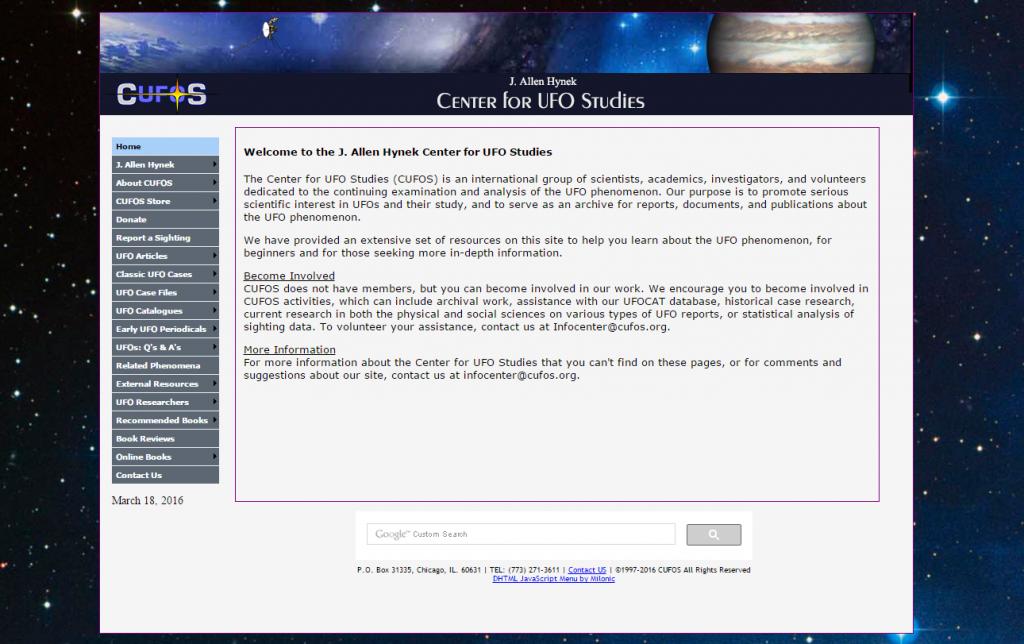 CUFOS Website Screenshot