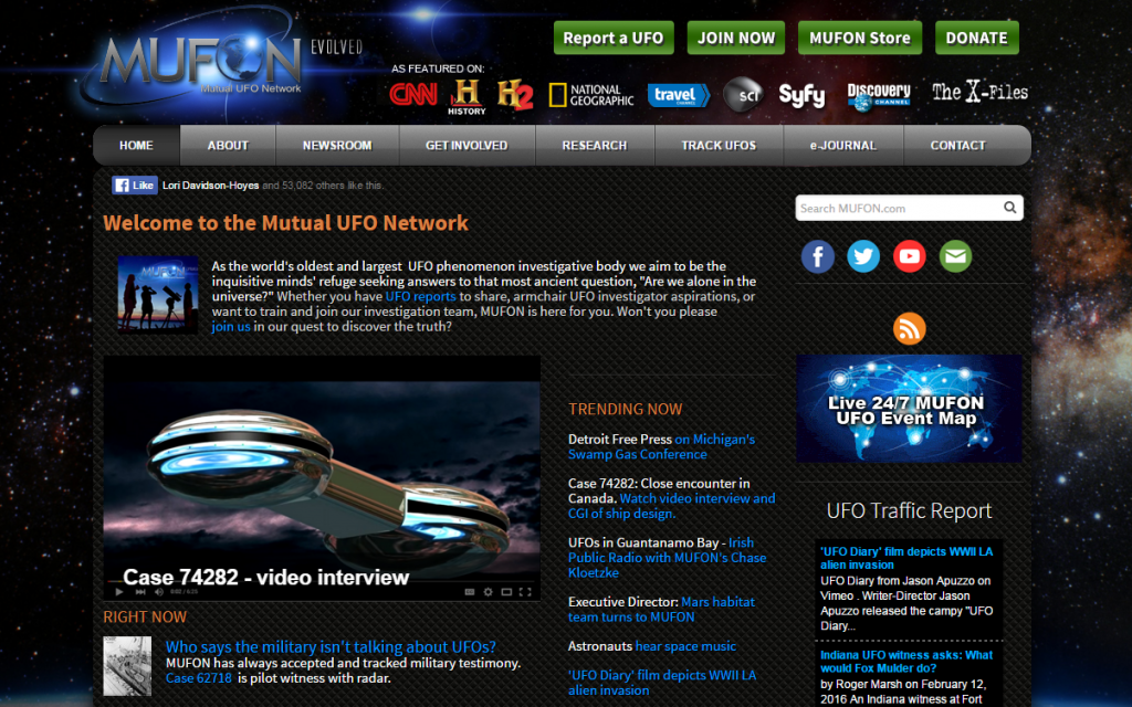 mufon website screenshot